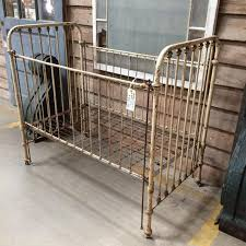 antique baby crib cast iron and brass 395 vintage