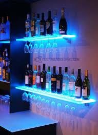 led floating shelves w wine glass rack