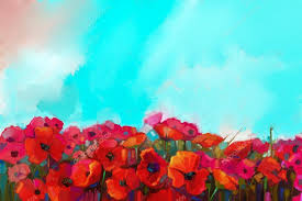 colorful red poppy flower in the meadows oil painting red poppies flowers field with green and blue sky in background spring fl nature background