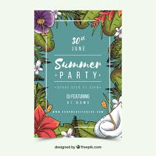 Invitation Free Download Interesting Summer Party Invitation In Vintage Style With Leaves Vector Free