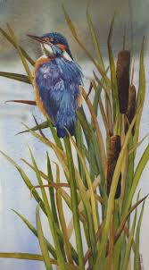 kingfisher on reeds by julie horner bird paintingspainting flowers kingfisherwatercolor