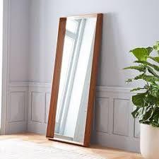 floor mirror. Wood Frame Ledge Floor Mirror
