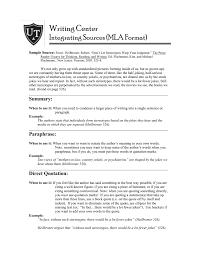 Writing Center Integrating Sources Mla Format Sample Source