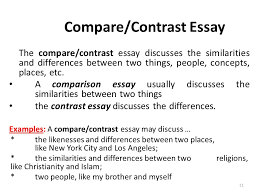 types of essays lecture recap i what is an outline a  the compare contrast essay discusses the similarities and differences between two things people
