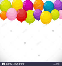 Happy Birthday Balloons Banner Color Glossy Happy Birthday Balloons Banner Background Vector Stock