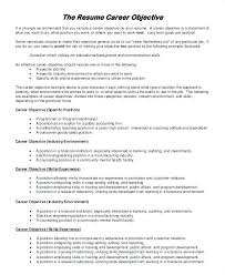 Sample Of Career Objectives For Resume