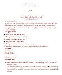 Sql Skills Resumes Sql Data Analyst Resume Sample The Hakkinen