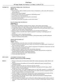 Operator Technician Resume Samples Velvet Jobs