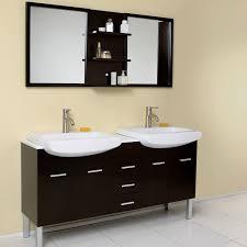 european bathroom vanities. Bathroom Ideas, Modern Double Vanities Under Two Framed Mirrors And Small Shelf On White European A