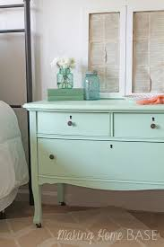 This dresser was refinished with the perfect shade of mint green. (Olympic  Sweet Pea