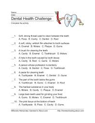 Dental Health Challenge Worksheet for 4th - 5th Grade | Lesson Planet