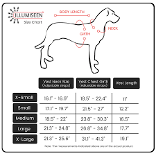 Service Dog Vest Size Chart Reflective Led Dog Safety Vest
