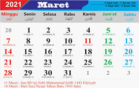 Unduh atau cetak kalender islam 2021 dan periksa tanggal hijriah dengan daftar liburan pada 2021. Kalender Bulan Maret 2021 Lengkap Hari Libur Nasional