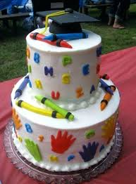 Image Preschool Graduation Cake Ideas 2 Tier Kindergarten Crayon
