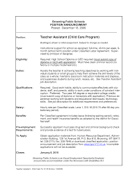 Resume Sample Perfect Worker Resume Objective Day Care Child