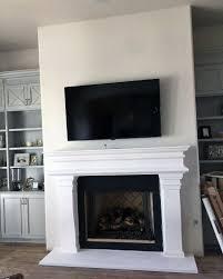 concrete painted fireplace mantel design