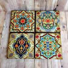 >moroccan wall art set hamsa block set of 4 hamsa wall art