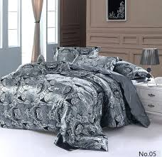 silver grey paisley silk satin bedding sets king quilt duvet cover brand sheets bed california quilts