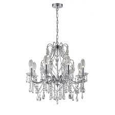 chrome and crystal 8 light bathroom chandelier