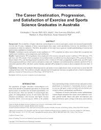 Careers With Exercise Science Degree Pdf The Career Destination Progression And Satisfaction