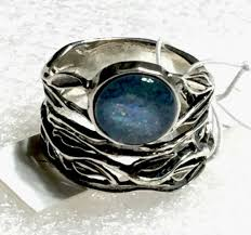 or paz round australian opal triplet sterling silver 925 ring sz 7 israel from or paz