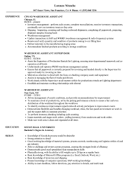 Warehouse Assistant Resume Sample Warehouse Assistant Resume Samples Velvet Jobs 10