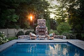 bridgeport outdoor gas fireplace with traditional hot tub and pool accessories patio furniture