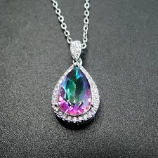 whole 925 sterling silver pendant 8x12mm pearl rainbow mystic topaz necklace women pendant new high quality for las without chainy1883008 custom
