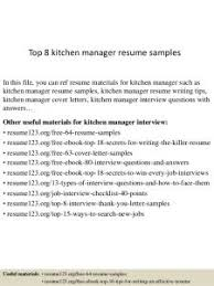 kitchen manager resume skills resume template