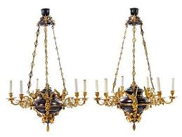 a pair of empire style gilt and patinated bronze six light chandeliers height 40 x diameter 25 inches by leslie hindman auctioneers bidsquare