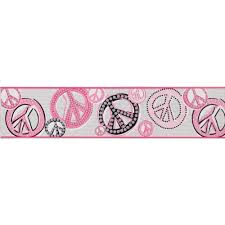 inspired by color by york wallcoverings je3511b kids book peace sign border