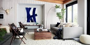 casual living room. Cali Chic Home Decor Trend. Wood Table, Gray Sofa. · Special Features Casual Living Room Furniture
