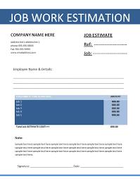 Work Estimate Templates Job Estimate Template Free Printable Ms Word Format