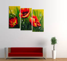 3 piece fl canvas wall art in favorite red poppies fl acrylic painting 3 piece wall