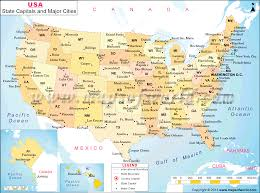 major cities in us map of state capitals and with united states