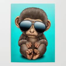 Cute Baby Monkey Wearing Sunglasses Poster By Jeffbartels