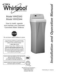 How To Maintain A Water Softener Whirlpool Whes44 Specifications