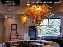 1020 glass art golden amber art glass chandelier