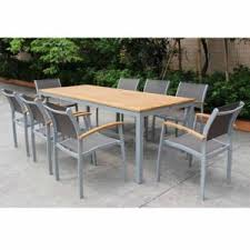 high quality outdoor patio furniture set aluminum powder coating garden dining table chairs with sling back