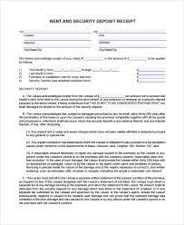 Deposit Templates Sample Security Deposit Receipt 8 Free Documents Download