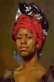 redhead william whitaker oil on panel contemporary figurative artist beautiful female head scarf african american black woman face portrait painting