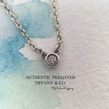 excellent authentic tiffany co elsa peretti by the yard 0 03ct diamond silver necklace women s fashion jewellery necklaces on carou