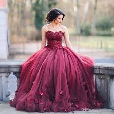 ball gown dresses. dark red ball gown evening prom dresses sweetheart lace tulle petal embellished floor length 2017 sweet 16 formal appliques nz e