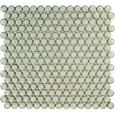Merola Tile Hudson Penny Round Light Green 12 in. x 12-5/8
