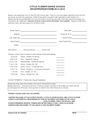 School Application Forms Templates Free Dance School Registration Form Templates At