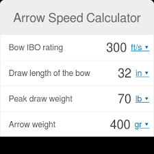 Compound Bow Arrow Weight Chart Arrow Speed Calculator Omni