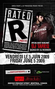 Party Flyer Enchanting RA Rated R Featuring Dj Tareq At Light Ultra Club Montreal 44