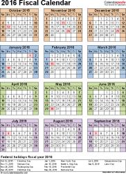 Calendar Quarters Fiscal Calendars 2016 As Free Printable Pdf Templates