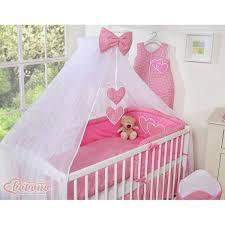baby girl gingham dark pink bedding set with mosquito net holder