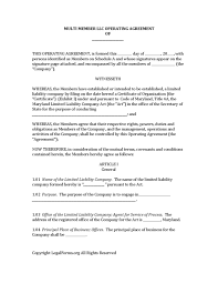 template for llc operating agreement multi member llc operating agreement template maryland multi member